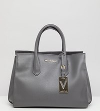 Valentino By Mario Valentino Grey Structured Tote Bag