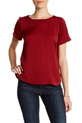 Gibson Short Sleeve Hi Lo Blouse Petite Red