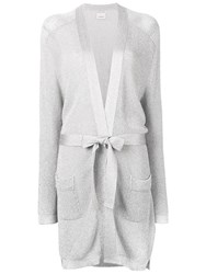 Laneus Waist Tied Fitted Cardigan Silver