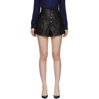 Saint Laurent Black Leather Western Style High Waisted Shorts