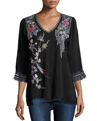 Johnny Was Dandelion Dream 3 4 Sleeve Embroidered Blouse Women's Sanded Black