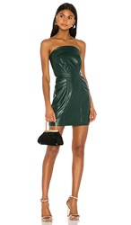 Kendall Kylie Cobain Vegan Leather Dress In Dark Green. Emerald