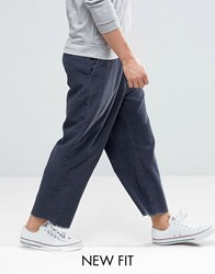 Asos Wide Cropped Trousers With Raw Hem In Navy Cord Navy
