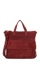 Madewell Suede Mini Fringe Transport Tote Cabernet Red