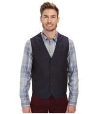 Perry Ellis Slim Fit Linen Suit Vest Navy Men's Vest