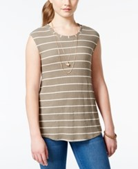 One Clothing Juniors' Striped Waffle Knit Tank Top Olive Cream