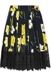Dolce And Gabbana Lace Trimmed Pleated Floral Print Crepe Mini Skirt Black