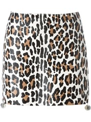 Drome Leopard Print Short Skirt Nude And Neutrals