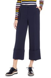 Halogen X Atlantic Pacific High Waist Wide Cuff Ankle Pants Navy