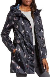 Joules Right As Rain Packable Print Hooded Raincoat Dogs In Leaves