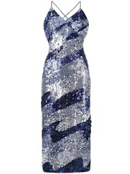 House Of Holland Sequined Slip Dress Blue