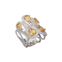 H. Azeem Yellow Citrine Ring Silver Yellow Orange