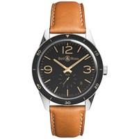 Bell And Ross Brv123 Gh St Sca Men's Vintage Original Automatic Leather Strap Watch Brown Black