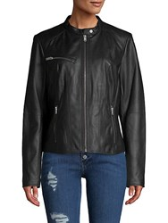 Marc New York Classic Leather Motorcycle Jacket Black