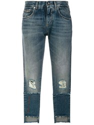 Dolce And Gabbana Cropped Distressed Double Denim Jeans Cotton Polyester Polyamide Blue