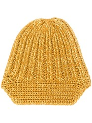 Missoni Knitted Beanie Hat Gold
