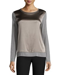 Peserico Long Sleeve Combo Satin Top Taupe Gray
