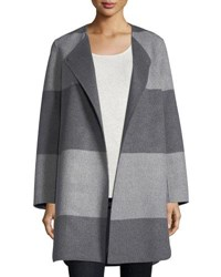 Neiman Marcus Luxury Striped Curved Double Faced Cashmere Coat Heather Grey Buff