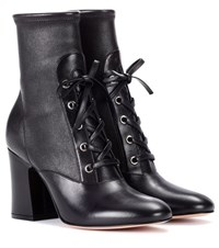 Gianvito Rossi Palmer Leather Ankle Boots Black