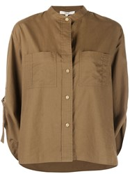 Vince Collarless Cropped Sleeve Shirt Brown