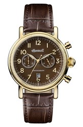 Ingersoll Watches Men's Daniells Chronograph Leather Strap Watch 44Mm Brown Gold