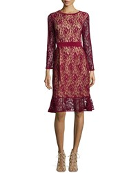 Melissa Masse Long Sleeves Lace Dress W Ruffle Hem Women's Claret Lace