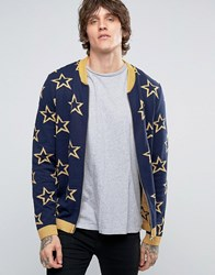 Asos Knitted Bomber With All Over Metallic Stars Navy