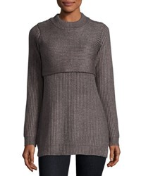Marled By Reunited Clothing Double Layer Tunic Sweater Grey