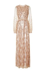 Andrew Gn Long Sleeve Sequin Gown Tan