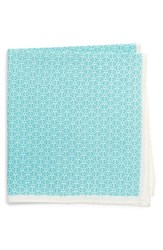 Calibrate Men's Clover Cotton And Silk Pocket Square Turquoise
