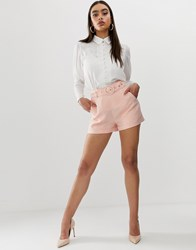 Fashion Union Tailored Shorts In Pinstripe Pink