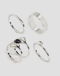 Asos Limited Edition Triangle Band Ring Pack Silver