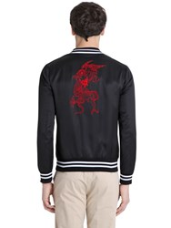 Daniele Alessandrini Grey Dragon Embroidered Satin Bomber Jacket