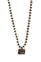Cara Accessories Baguette Crystal Charm Necklace Metallic