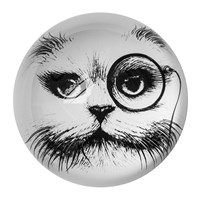 Rory Dobner Domed Paperweight Cat With Monocle