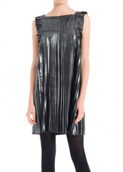 Leon Max Pleated Metallic Dress