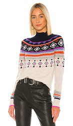 Autumn Cashmere Fair Isle Mock Neck In Gray. Mojave And Navy