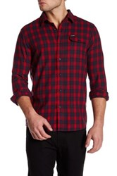 Volcom Fulton Long Sleeve Modern Fit Flannel Shirt Red