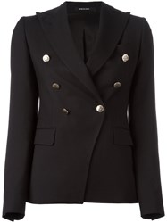 Tagliatore Pointed Lapels Double Breasted Blazer Black
