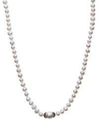 Paul And Pitu Naturally 14K Gold Plated Pave Cultured Freshwater Pearl Cord Necklace White
