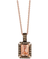 Le Vian Chocolatier Peach Morganite 3 4 Ct. T.W. And Diamond 1 5 Ct. T.W. Pendant Necklace In 14K Rose Gold Pink
