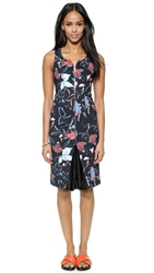 Suno Pleated Godet Scuba Dress Abstract Floral