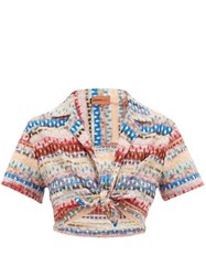 Missoni Mare Cropped Glitter Striped Lace Knitted Shirt Multi