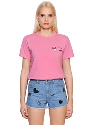 Chiara Ferragni Flirting Eye Embroidered Cotton T Shirt