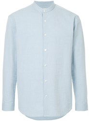Cerruti 1881 Band Collar Shirt Blue