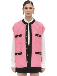 Gucci Oversize Cotton Blend Tweed Vest Pink