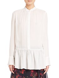 Thakoon Gathered Silk Peplum Blouse Natural