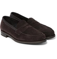 Edward Green Duke Suede Penny Loafers Brown