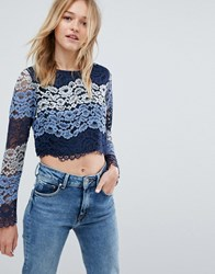 Oeuvre Long Sleeve Lace Top Blue