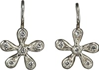 Cathy Waterman Women's Pave Diamond Medium Daisy Earrings Colorless